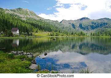Lake scenery in the Italian Alps - View of S Giuliano lake...