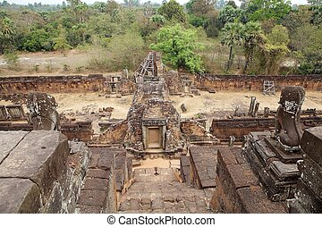 Pre Rup temple ruins and forest, Angkor, Siem Reap,...