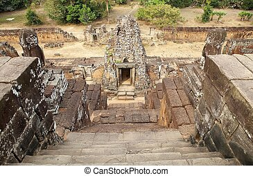 Pre Rup temple ruins - The stairway to the upper terrace of...