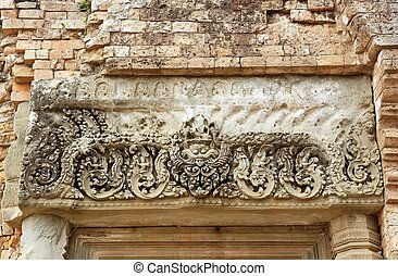 Pre Rup temple ruins - Bas relief at the Pre Rup temple...