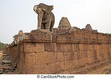 East Mebon temple ruins - Guardian elephant at the East...