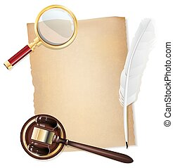 feather pen, old papirus, gavel and magnifying glass as justice background