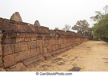 East Mebon temple ruins - The wall at the East Mebon temple...