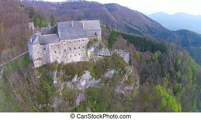 Castle - Old castle from middle age in Austria. aerial view...