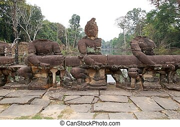 Preah Khan - The naga of the balaustraded causeway accross...