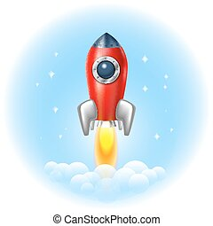 Rocket icon space, vector, illustration, fire, symbol,...