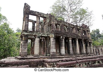 Preah Khan - Architecture details of the columns building at...
