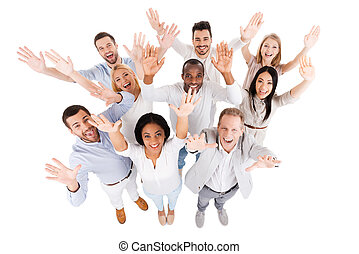 Successful business team Top view of positive diverse group...