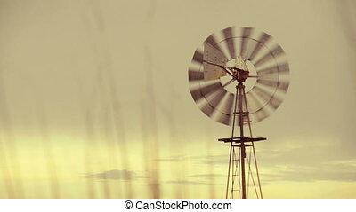 Vintage working farm windmill
