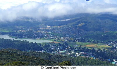 Nuwara Eliya, Gregory lake and clouds over - Aerial view on...