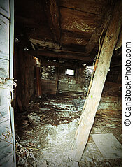 abandoned house in ruins with danger of collapse with wooden...