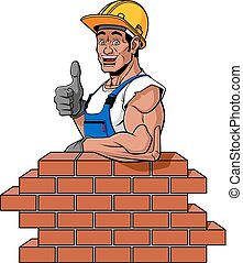 Happy bricklayer - Cartoon illustration of a friendly...