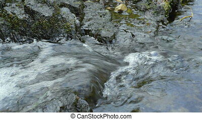 Clear potable flowing water stream - Clear flowing water...