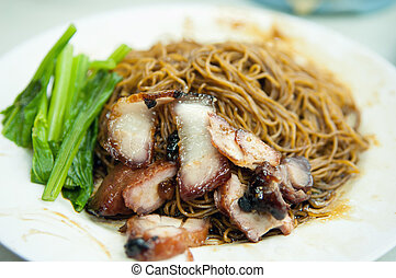 Wonton mee - Popular Malaysian Chinese street food, wantan...