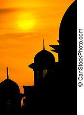 mosque silhouette during sunset