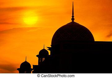 mosquée, dans, Coucher soleil,