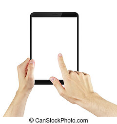 adult man hands using tablet pc with white screen, isolated