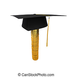 Graduation Cap on Stack of Money Coins isolated on white...