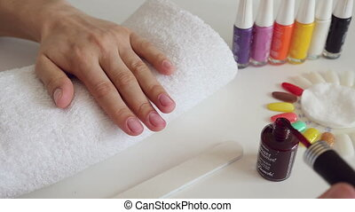 Manicure process in beauty salon