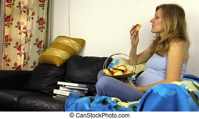 Hungry pregnant woman eat