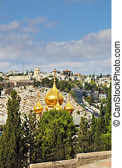 Church of St. Mary Magdalene - Golden domes of the Church of...