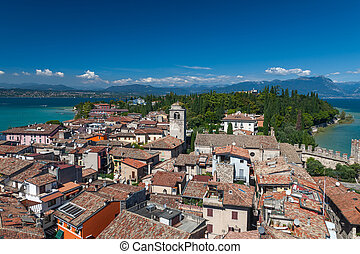 Panoramic view from The Scaliger Castle at Sirmione town,...