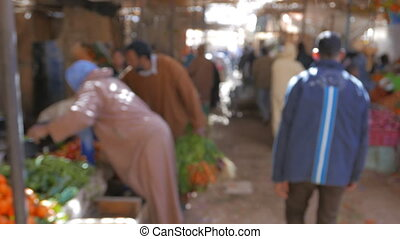 Traditional Moroccan Market - Senior man shopping food at...