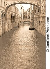famous bridge of sighs in Venice in Italy - The famous...