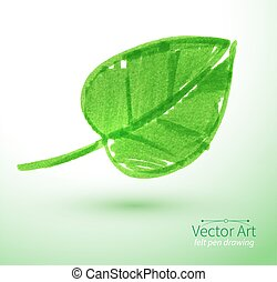 Green leaf - Felt pen vector illustration of green leaf