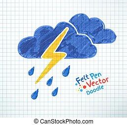 Vector illustration of thunderstorm. Felt pen childlike...