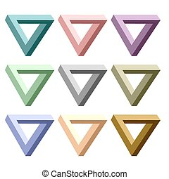 Triangles - Set of Incredibly Colorful Triangles Isolated on...