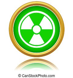 Nuclear icon - Green nuclear icon on a white background