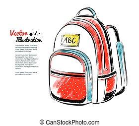 School bag - Vector watercolor illustration of school bag