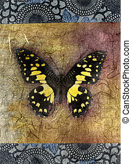 Yellow Butterfly - Mixed medium illustration of a butterfly...