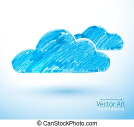 Vector illustration of clouds - Felt pen vector illustration...