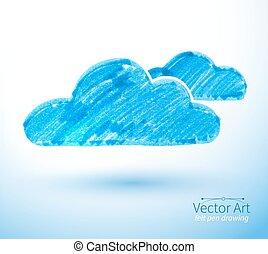 Vector illustration of clouds. - Felt pen vector...
