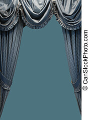 Curtain on Gray Green Background with Copy Space