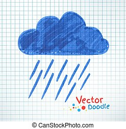 Pouring rain and cloud. - Vector illustration of pouring...