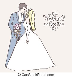 Wedding collection Bride and Groom coupl Vector illustration...