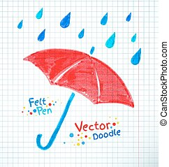 Umbrella and rain drops Felt - Vector illustration of...