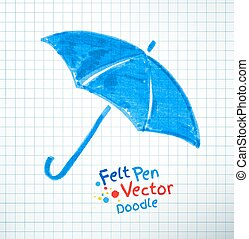 Vector illustration of umbrella Felt pen childlike drawing...