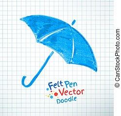 Vector illustration of umbrella. Felt pen childlike drawing...