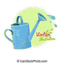 Watering can - Grunge vector illustration of watering can...