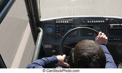 Bus driver - Caucasian bus driver working through the day