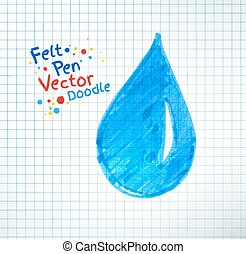 Vector illustration of water drop Felt pen childlike drawing...