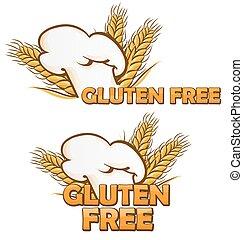 gluten free symbol set isolated on white background