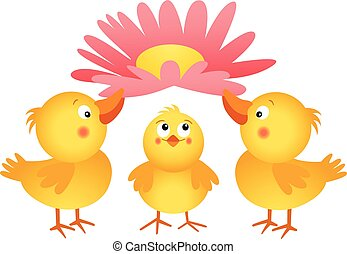 Three little chicks with flower - Scalable vectorial image...