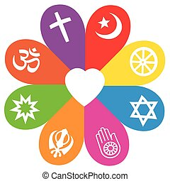 Religion Symbols Flower Love Colors - Religious signs on...
