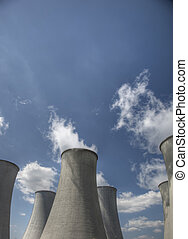 nuclear power plant - Nuclear cooling towers emitting steam...