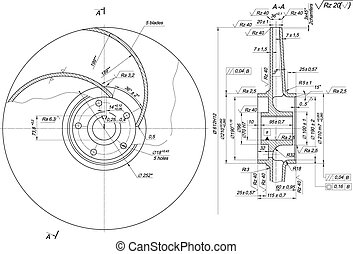 Sketch of wheel with blades and radicals - Engineering...